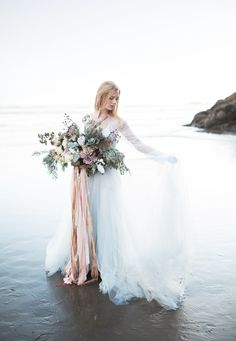 Oregon Coast Sunset Bridals with Bouquet by Janna Brown Design  gown by claire la faye   www.clairelafaye.com