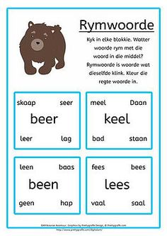 'n Afrikaanse Lees- en skryfprogram vir tuisskolers of onderwysers. 'n Afrikaanse Lees- en skryfprogram vir graad 1 tot graad 3 Grade R Worksheets, Worksheets For Kids, Teaching Activities, Preschool Learning, Kindergarten Classroom, Afrikaans Language, Preschool Cutting Practice, Classroom Expectations, School Posters