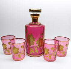 Vintage Pink Glass Decanter Set