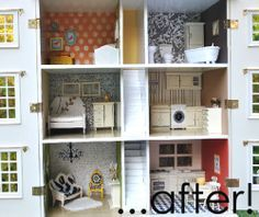 Dollhouse makeover. This is just beautiful! collecting ideas as i start remodeling olivia's dollhouse!