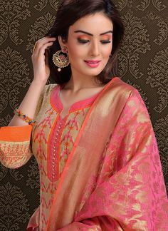 Be the sunshine of everybody's eyes dressed in this beige chanderi churidar designer suit. The ethnic embroidered work with a dress adds a sign of elegance statement with a look. Comes with matching.We have the best designer style for salwar suits Chudithar Neck Designs, Neck Designs For Suits, Neckline Designs, Designs For Dresses, Blouse Neck Designs, Salwar Suit Neck Designs, Churidar Designs, Kurta Neck Design, Kurta Designs Women
