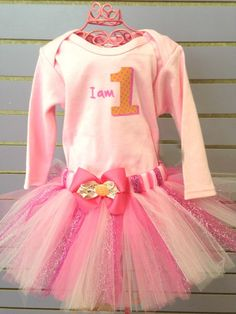 I am 1 Pink Birthday Tutu Outfit-