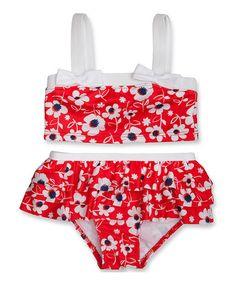Look at this #zulilyfind! Red & White Oleander Tankini - Infant, Toddler & Girls by Penelope Mack #zulilyfinds