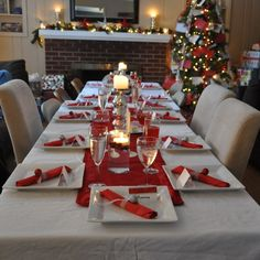 Beautiful Christmas Party Table Setting On Adorable Rectangular Dining Table  With Soft White Table Cloth And Pretty Christmas Tree Near Comfort  Fireplace ...
