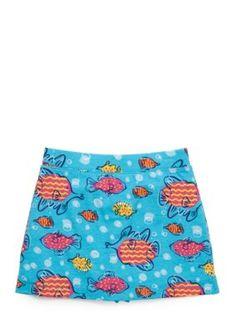 J Khaki   Fish Print Scooter Skirt Girls 4-6x