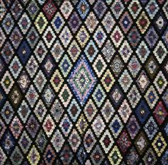 Hexagon quilt - 1875-1899.  Silks and Velvets