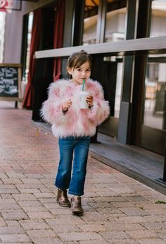 faux fur coat and bellbottom jeans for little girls Cute Kids Fashion, Toddler Fashion, Toddler Outfits, Kids Outfits, Girl Fashion, Fur Coat Outfit, White Faux Fur Coat, Baby Coat, Kids Coats