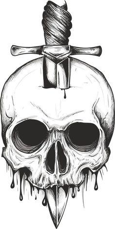 Skull Sword svg vector digital clipart t-shirt design Creepy Drawings, Dark Art Drawings, Pencil Art Drawings, Cool Drawings, Skull Drawings, Skull Sketch, Skull Tattoo Design, Skull Design, Skull Tattoos