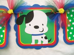 Dalmatian puppy baby shower banner, primary colors, its a boy SALE. $15.00, via Etsy.