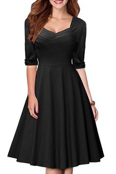 Vintage Womens's Pure Color Sweetheart Neck 1/2 Sleeve Dress