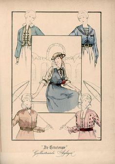 [De Gracieuse] No. 1. Blouse van crèpon met een vest van piqué. No. 2. Matrozenblouse van fijne serge met een gestreept vest. No. 3. Taille van taffet, aangebracht op een blouse van geplisseerden zijden voile. No. 4. Blouse van linnon. No. 5. Blouse van effen en van geborduurd crèpon (September 1915)