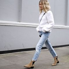 White Knit Sweater, denim pants and Acné Boots