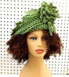 Crochet Cloche Hat 1920s Womens Crochet Hat Womens Hat 1920s Light Sage Green Hat LAUREN 1920s Cloche Hat Crochet Flower by strawberrycouture by #strawberrycouture on #Etsy