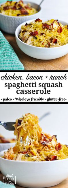 Chicken Bacon Ranch Spaghetti Squash Casserole Real Food with Dana Paleo Recipes, Real Food Recipes, Chicken Recipes, Cooking Recipes, Paleo Casserole Recipes, Quick Recipes, Spaghetti Squash Casserole, Spaghetti Squash Recipes, Whole 30 Spaghetti Squash