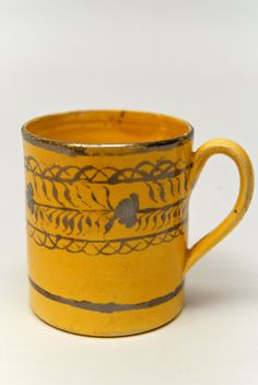 1820 Canaryware Child Mug with Horizontal Hand Painted Silver Lustre Flower Leaf and Vine Decoration