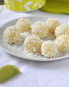 coconut lime truffles - The Domestic Mama The Village Cook Candy Recipes, Sweet Recipes, Dessert Recipes, Just Desserts, Delicious Desserts, Yummy Food, Sweet Desserts, Coconut Truffles, Lime Recipes