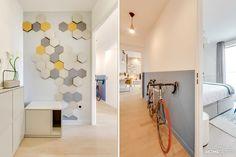 MyHomeDesign a fait de ce 3 pièces en VEFA un appartement chic et chaleureux. Matériaux choisis : cuir, pierre, feutre et coloris doux et intemporels. Decor, Furniture, Interior, Home Decor Decals, Home, Apartment Interior, Deco, Apartment, Room Divider