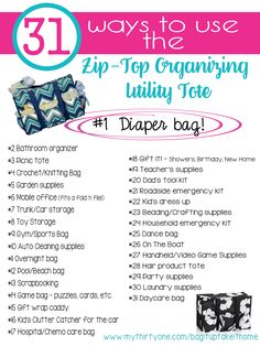 The Zip-Top Organizing Utility tote is rugged, and super functional! What a great #diaperbag! #babygear #musthave #trendyprints #MyThirtyOne #ThirtyOne #ZOUT #IndependentConsultant #LoveThirtyOne #Organization #OrganizeIt #Functional #Affordable