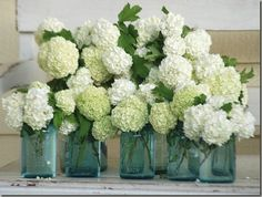 hydrangeas + tinted mason glass jars. We love incorporating mason jars as vases. They are a chic and very affordable option - most mason jars can come in 12 packs and can be used to organize nic-nacs and also be used to store pantry items.