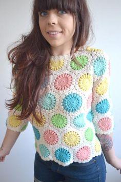 Round She Goes - Market Place - Multi Coloured Crochet Scalloped 3/4 Sleeve Sweater