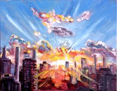 Original Oil Painting Sunrise at City 16x20 by JennyYaoCanvas