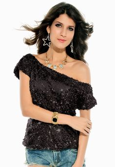 Cheap Seductive Off-shoulder Glistening Sequin Top Black online - All Products,Sexy Clubwear,Clubwear Tops Blazers For Women, T Shirts For Women, Clothes For Women, Clubwear Tops, Gold T Shirts, Party Tops, One Shoulder Tops, Sequin Top, Embellished Top