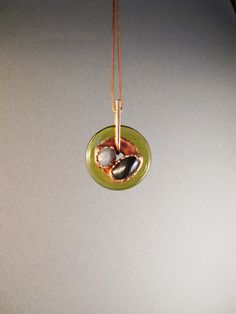 Duo pendant electroformed copper glass and by AurumgirlStudio