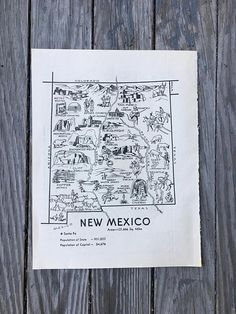 New Mexico Map / Vintage State Map Coloring Book Page from Hildalea on etsy #vintage #map #wallart #gift #newmexico