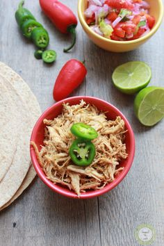 Pulled Chicken In The Crockpot.  This recipe can be used for a myriad of recipes ~ soups, tacos, casseroles and more.