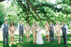 Bridal party in neutral tones - Minnesota wedding by Geneoh Photography
