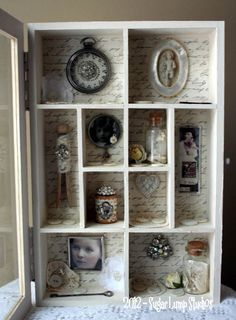 Shabby Hearts Cabinet of Curiosities OOAK Mixed Media Art. Beautiful creation by Sugar Lump Studios!
