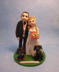 Bride and Groom with Dogs Wedding Cake by lynnslittlecreations, $30.00