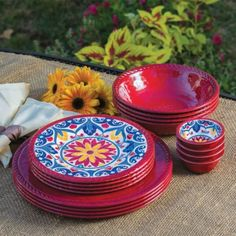 Melamine Dinnerware, 16-pc Set, comes in blue, red, yellow and white. $40.00/Set at costarose500 on ebay, 6/27/15