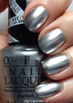 Love this chrome nail polish for a bit of metallic pop on your wedding day // OPI Push and Shove