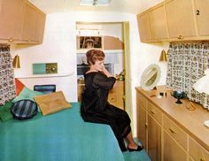 getting ready in a 1967 Avion travel trailer