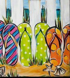 Bildergebnis für flip flops in acryl gemalt auf leinwand