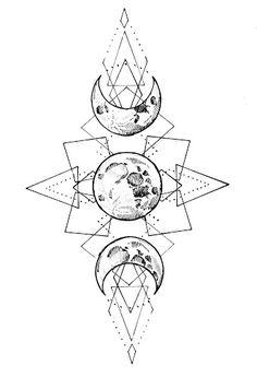 """Moon tatto by Monika """"Paskud"""" Romańczyk  Witch tattoo designed by paskudtattoo.  Księżyc i geometria na wzór tatuażu. Tatuaż został wykonany we Wrocławiu w marcu 2020roku przez artystkę Paskud /paskudtattoo/. #tatuażwrocław #wroclaw #moontattoo #geometrictattoo #gothictattoo"""