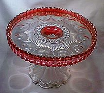 EAPG Cake Salvers/ Cake Stands.  very difficult to find ruby stained Manhattan aka New York pattern cake stand by US glass co ca1902
