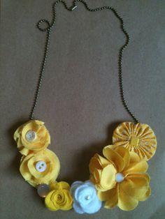 fabric flower My Sunshine necklace with adjustable by clorentzen, $25.00