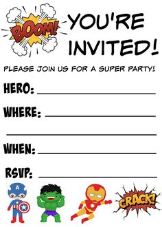 These free printable birthday invitations are perfect for your next Disney Marvel Avengers or Superhero birthday party! Superhero Birthday Invitations, Free Printable Birthday Invitations, Superhero Birthday Party, 6th Birthday Parties, Birthday Ideas, 4th Birthday, Birthday Cards, Birthday Banners, 1st Birthdays