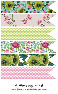 printable- vintage floral ribbons