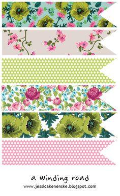 Descargar gratis - gráficos cinta floral vintage  -  Free download - vintage floral ribbon graphics