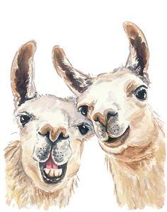 5 x 7 Llama Aquarelle - Aquarelle PRINT, Selfie, drôle de peinture, Art de la pépinière