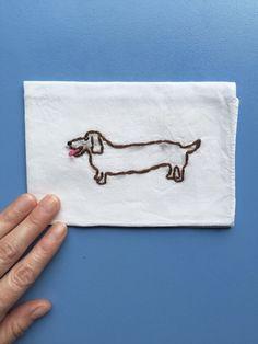 Hand Embroidered Dachshund Handkerchief     Weiner Dog, Rescue Dog, Gifts Under $50
