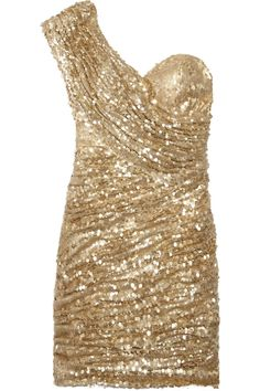 Stand out at the celebration with this sequined one-shoulder mini dress by Opulence England
