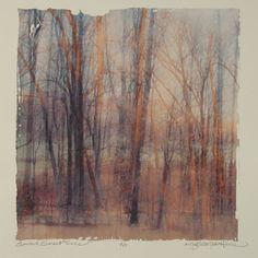 "Sunrise, Sunset Trees, MaryLea Harris  Emulsion Transfer A/P, 2006 12 "" x 12"""
