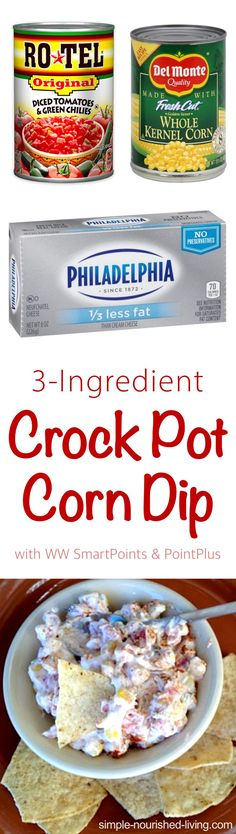 Light and flavorful, without being overly cheesy, this easy 3-ingredient crock pot corn dip is a winner. Just 79 calories, 2 WW PointsPlus, 3 WW SmartPoints!