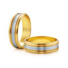 SAVICKI - Obrączki ślubne: Obrączki z dwukolorowego złota (Nr 142) - Biżuteria od 1976 r.