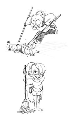 undertale fic prompt #281babybones!AU. sans and undyne do chores for Gerson in return for 5G, but whoever does the best job gets double the money. The competition is hot but Undyne c...