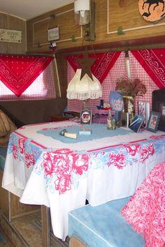 Vintage linens in a vintage camper...